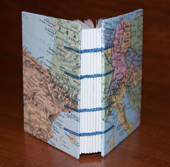 European Map Little Coptic Bound Book or Journal