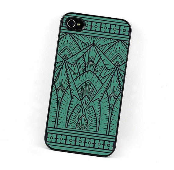 Teal and Black Art Deco iPhone Case, iPhone 4 and 4S