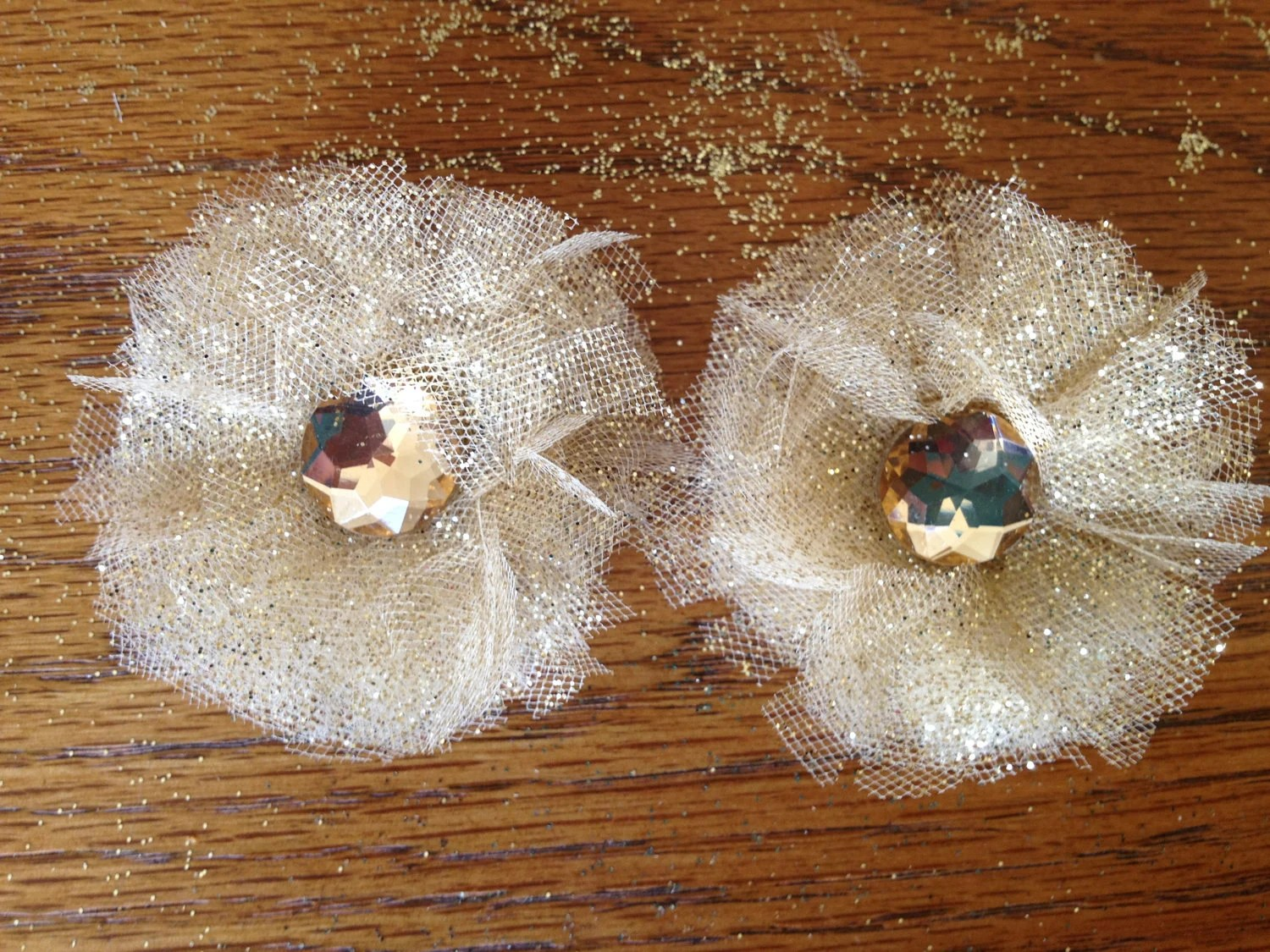 Set of 2 Red & Gold Or Gold on Gold  Bella Hair Clips