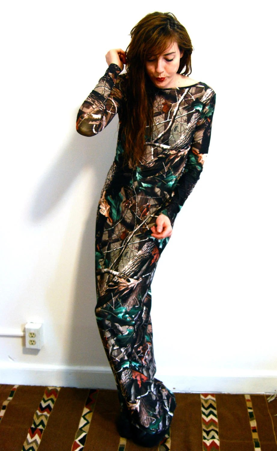 Digital Print Camouflage Long Sleeve Maxi Dress ALL SIZES