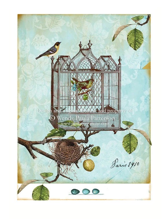 Vintage French Bird Cage Art Print Paris Nest  Aceo Giclee