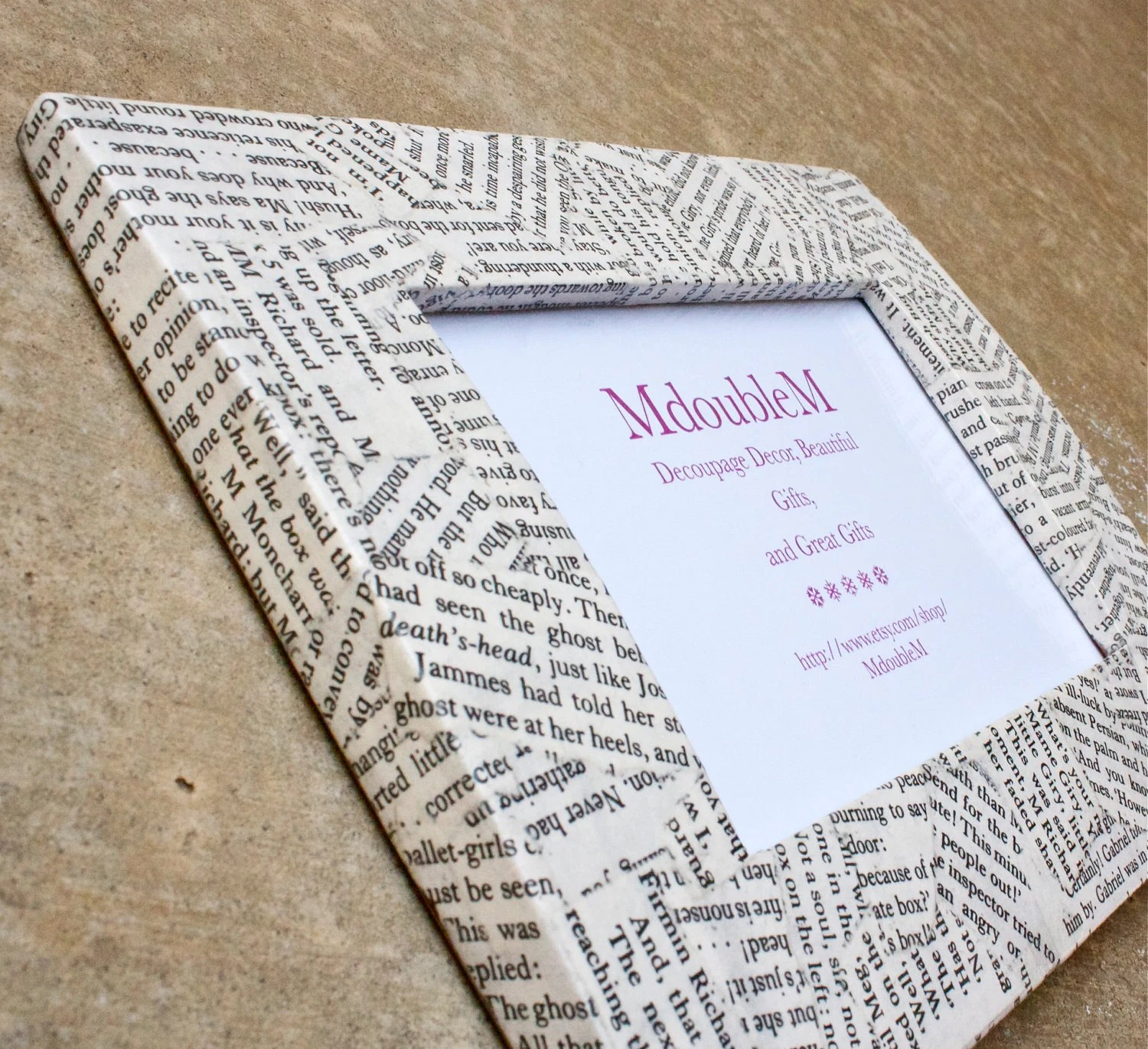 Book Page 4 x 6 Curved Frame - Decoupaged wood frame