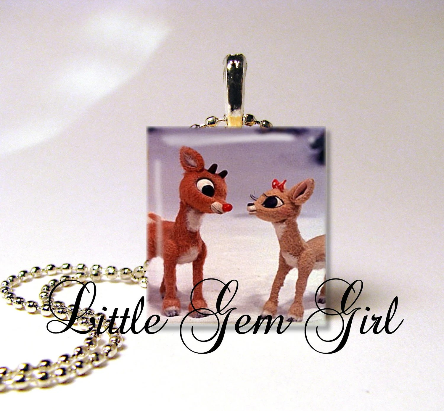 Rudolph & Clarice - Rudolph the Red Nosed Reindeer - Scrabble Tile Necklace Pendant by Little Gem Girl