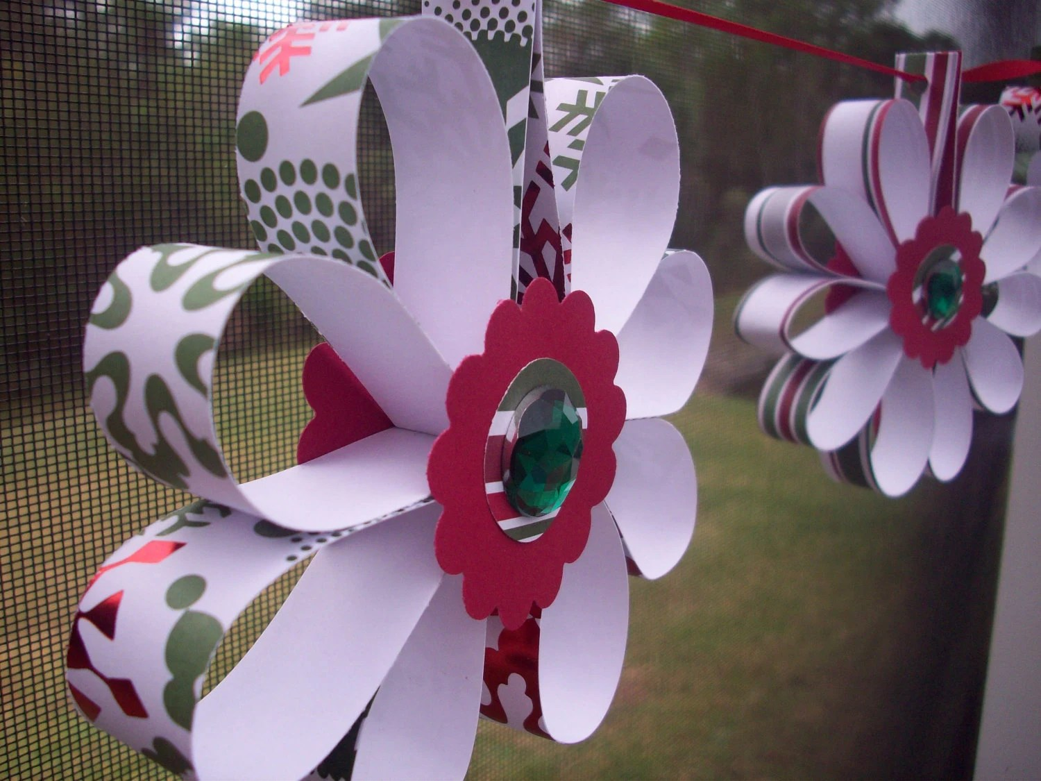Christmas Flowers Paper Banner/ Garland- ON SALE