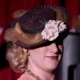 Vintage 1940s Straw Tilt Topper Hat Chocolate Brown Millinery Flowers Grosgrain Ribbon