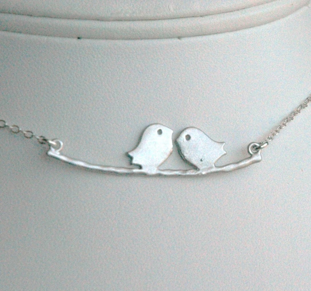 Sterling Silver Two Little Love Birds in a Branch Necklace