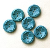 "Set of Six Vintage 1930's Teal Plastic Buttons-7/8""-VBP35"