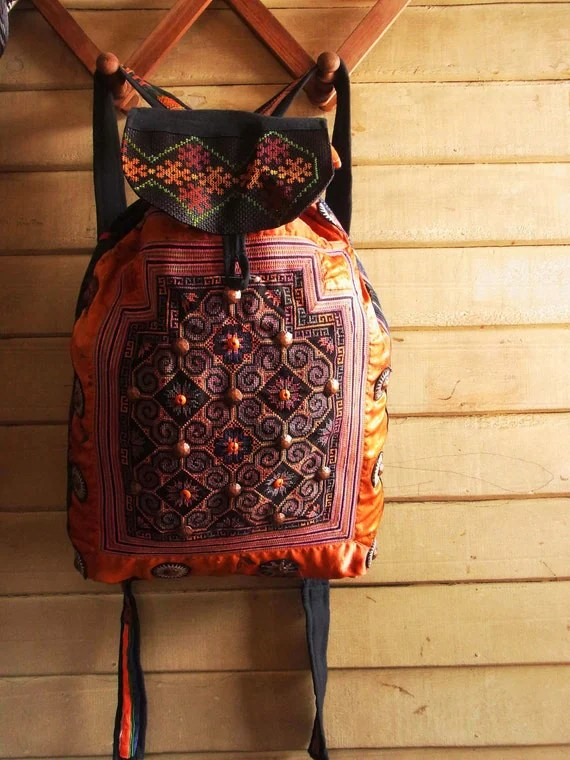 Ethnic rucksack made from vintage baby carrier.