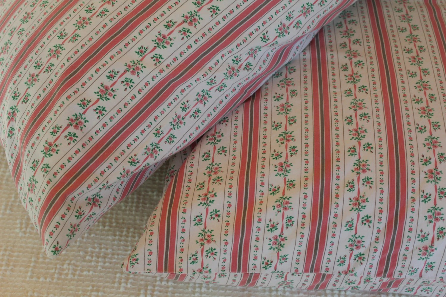 NEW YEAR SALE - Vintage Pillow Cases - Pink Ticking Green Garland - Soft Cotton - Pair