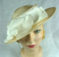 70's Does 30's Straw Wide Brim Hat with White Ribbon & Flower 22 1/2