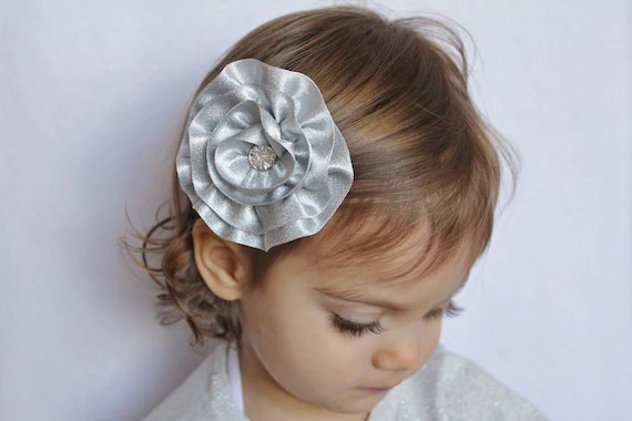 Silver Flower Hair Clip - Flower Hair Bow Wedding Silver - Toddler Girl Adult Hair Bow Clip