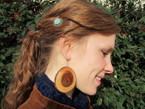 Cedar Wood Earrings- Large Wooden Earrings