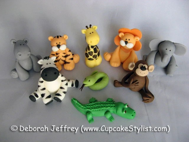 Set of 5 Edible Fondant Safari Animal Cake and Cupcake Toppers