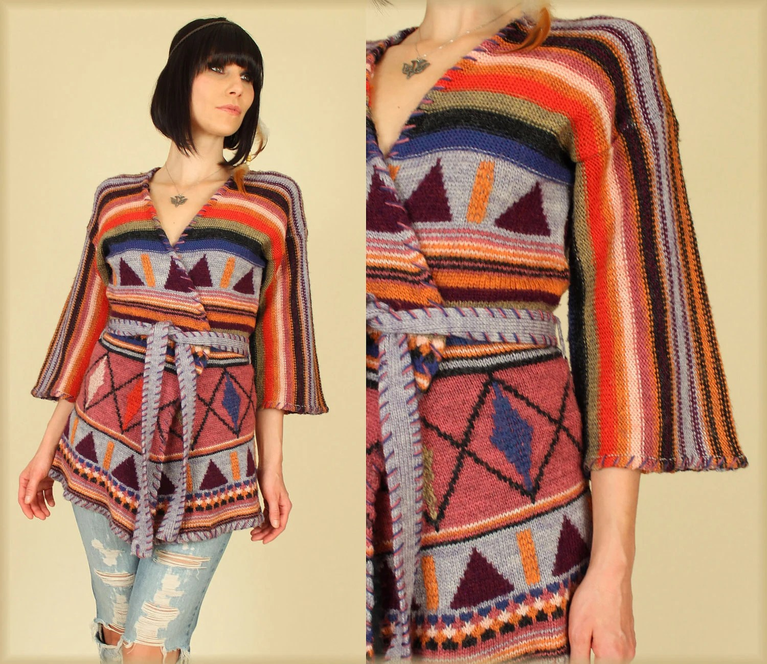70's Organically Grown Bell Sleeve Sweater from hellhoundvintage on Etsy