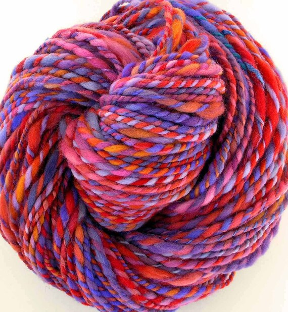 Handspun and Hand Dyed Merino Wool Silk  Bulky Yarn - Valentine