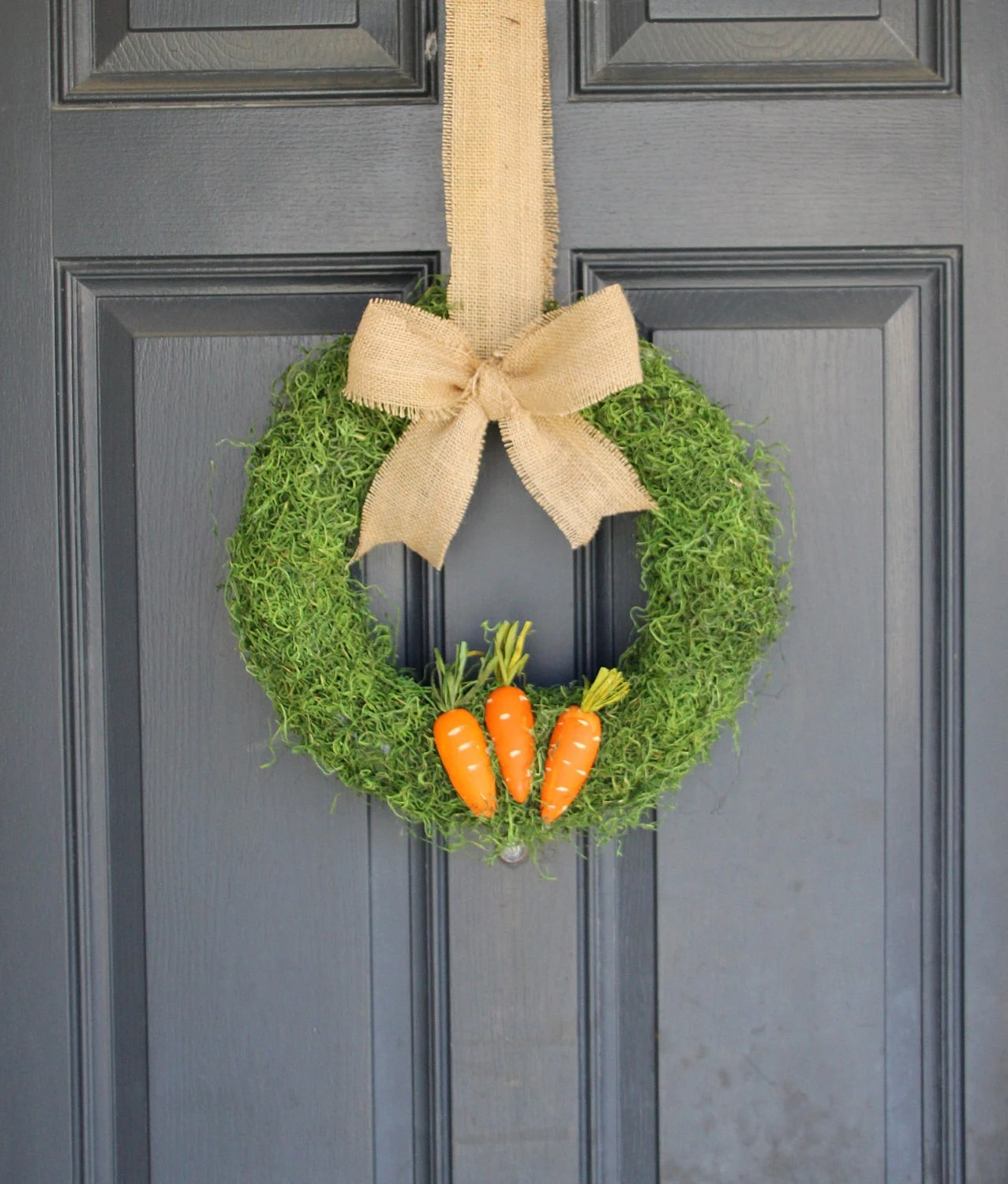 Easter Wreath - Spring Wreath - Moss Wreath -burlap bow, and carrots (LIMITED LEFT)