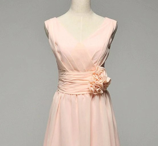 Custom make Vintage Wedding Dress A LINE Bridal Gown Bridesmaid Mermaid Pink Chiffon Prom Formal Evening Dress Knee Cocktail  Flower Sash