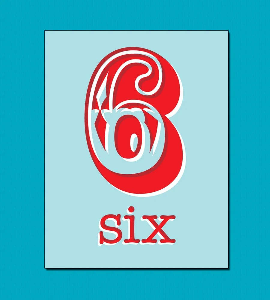 Number 6 Anniversary or Birthday Card in Aqua Blue and Red on 100% Recycled Paper