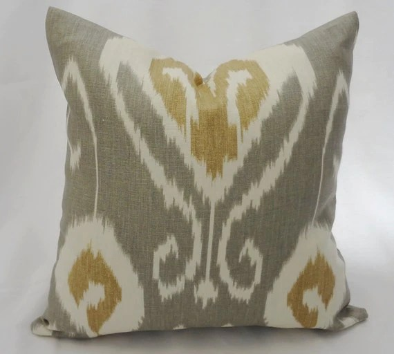 One Bansuri by Kravet Grey Tan Gold Cream Ikat Pillow Cover 18x18