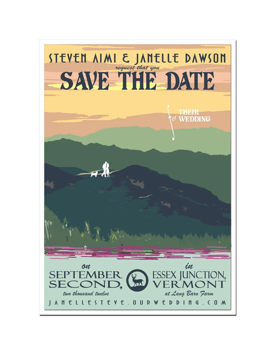 Vintage Summer Mountain and Sunset Save the Date Card - SAMPLE