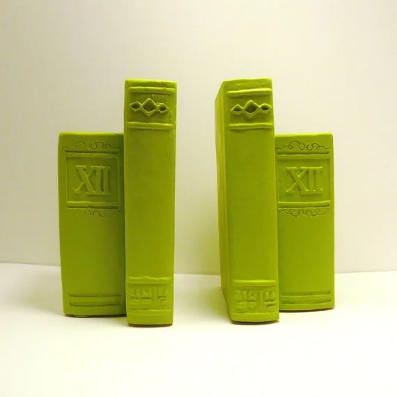 neon vintage bookends  //  chartreuse lime green  //  mid century bookend  //  books, home office, decor