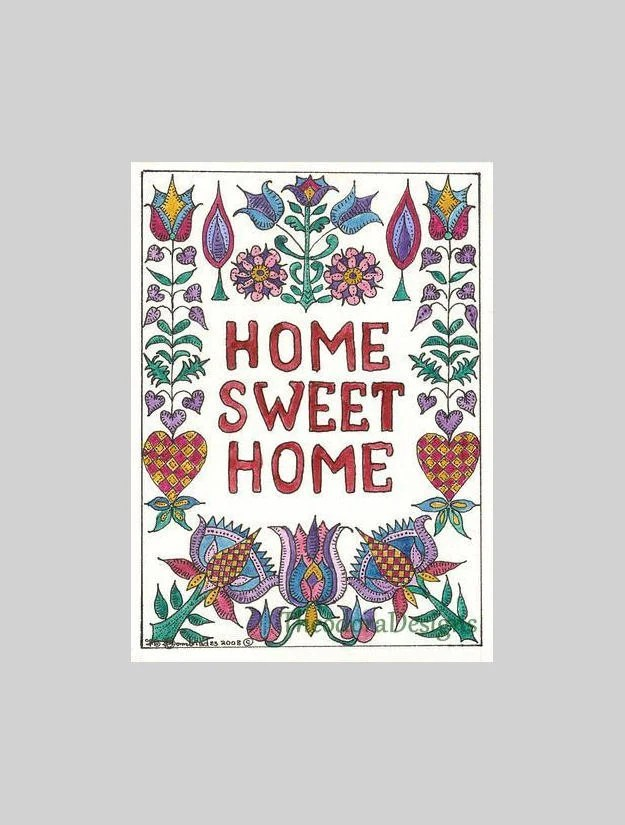 Home Sweet Home Fraktur with Flowers,Hearts ACEO by Theodora