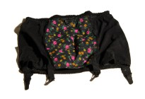 1950s Black Waspie Floral Suspender Belt, Garter, Girdle - 28-34""