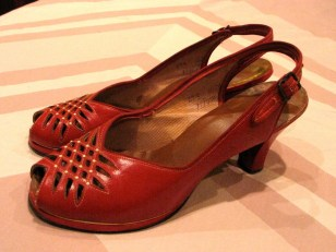 Vintage Late 1940s Early 50s Cherry Red Sling Back Heels