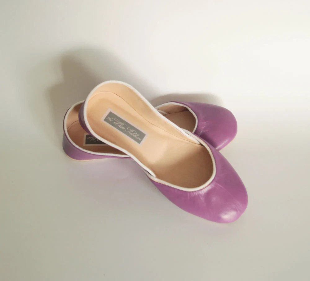 new. Soft leather ballet flats. Hot Magenta.