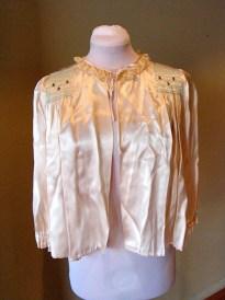 Vintage 1940s Stunning Ivory Satin Bed Jacket