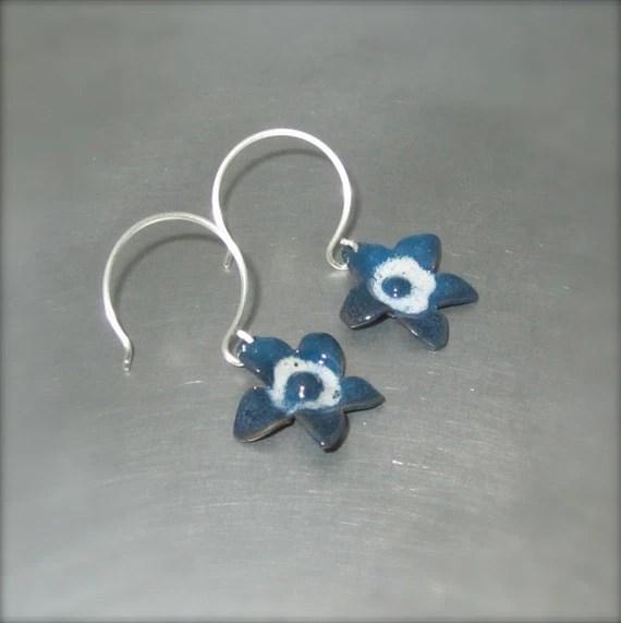 Enameled Blue and White Star Flower Earrings - By Beth Millner