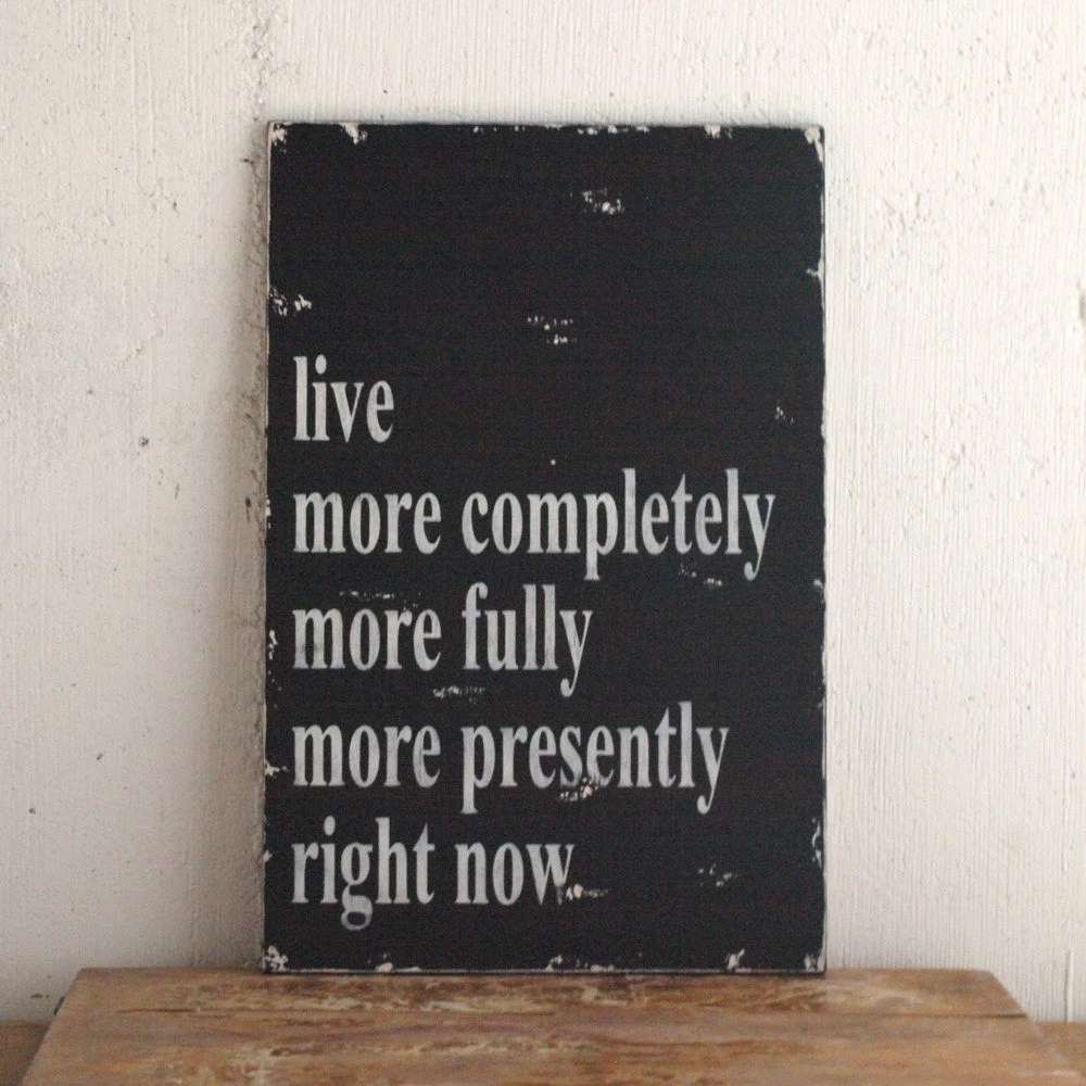 Family Rules Life Rule Wood Sign Black and White Live More Completely More Fully - SignsofVintage
