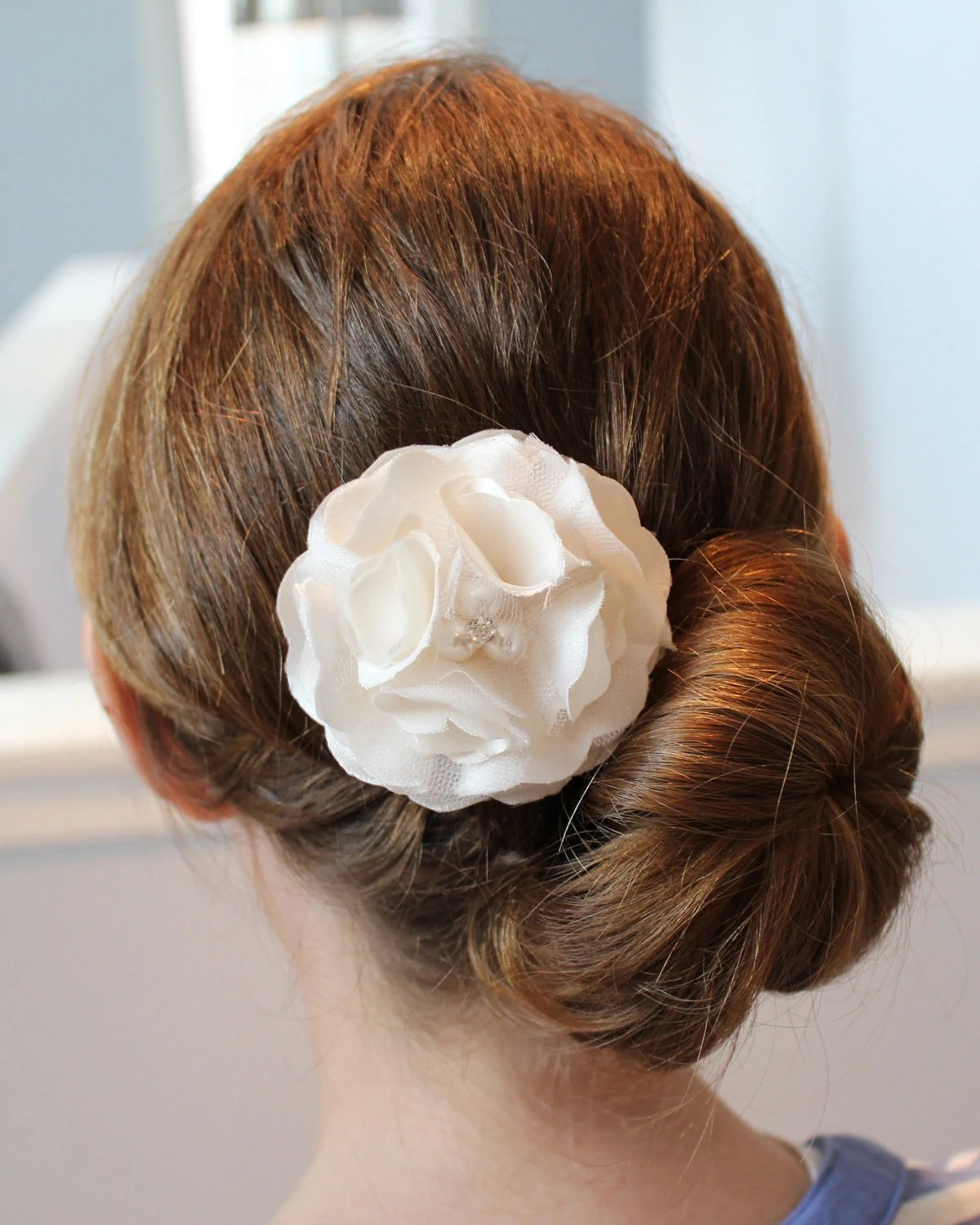 Ivory Silk Satin and Tulle Peony Hair Flower with Pearl and Crystal Center