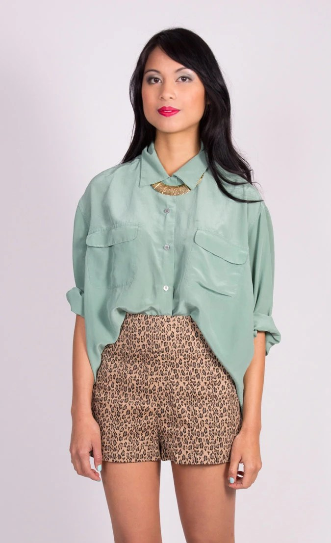 Vintage Mint Green SILK Blouse One Size Fits Most