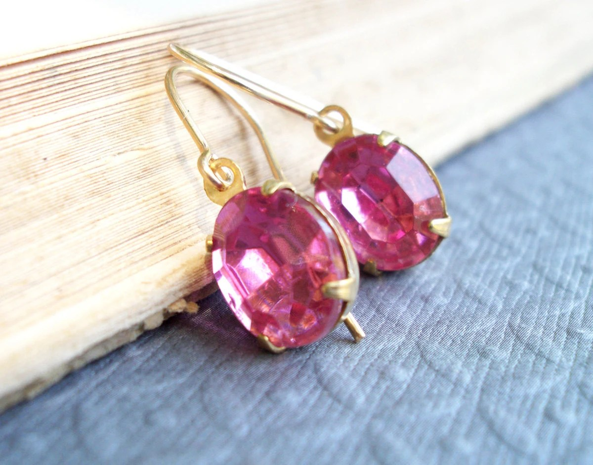 1950s Vintage Pink Faceted Earrings on 14K Gold Filled Ear Wires