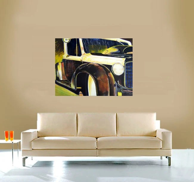 "Original 1935 Rat Hot Rod Acrylic Painting Unframed Unstretched Comes Rolled.   Vintage Car Black HUGE 30""x40"""