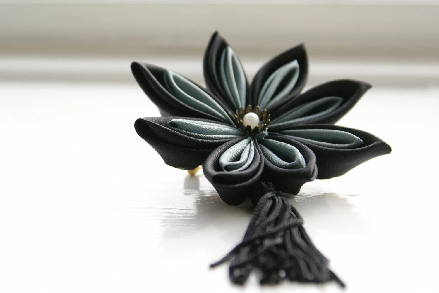 Black Flower Brooch Pin: Black and Gray Silk Kanzashi Flower Corsage / Pin with Tassel