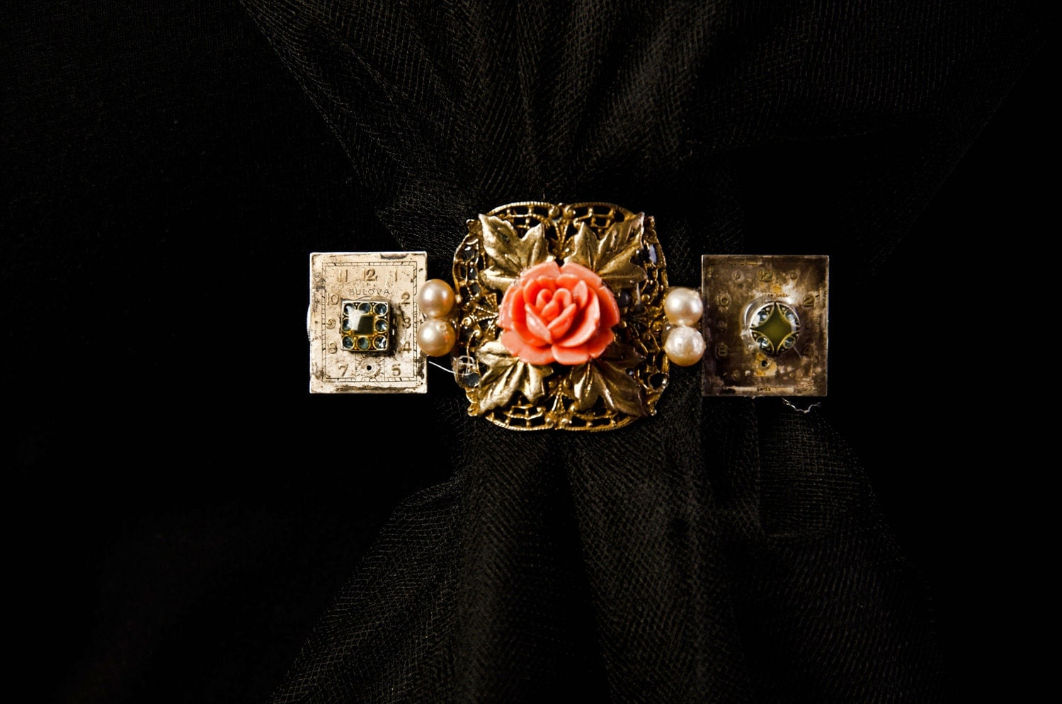 Annabel pearl, rose, and watch dial barrette