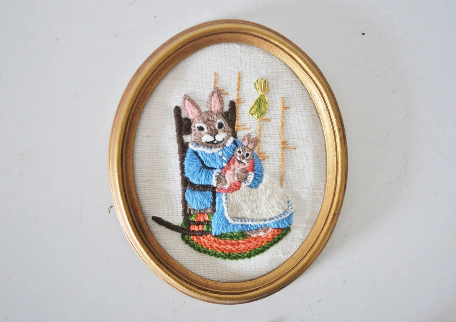 Mama and Baby Bunny Crewel Embroidery