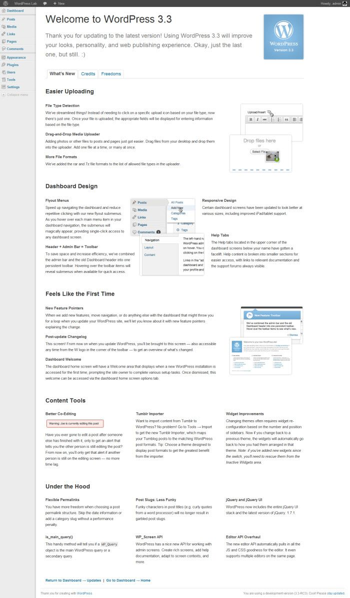 dashboard wordpress 3.3, dashboard wordpress welcome 3.3