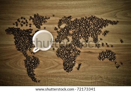 戲劇性 · 照片 · 世界地圖 · 咖啡豆 · 白 · 杯 - 商業照片 © Kirill Kedrinski (HASLOO) (#1504942)   Stockfresh
