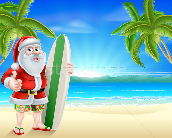 Surfista Praia Tropical Desenho Animado Papai