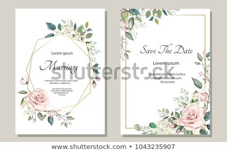 Stock Photo Vector Ilration Wedding Invitation Card Template With Pink Flowers And Hearts