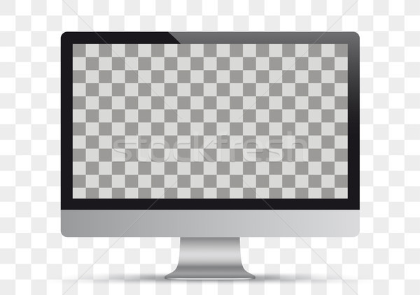 Black Pc Monitor Mockup Transparent Vector Illustration C Limbi007