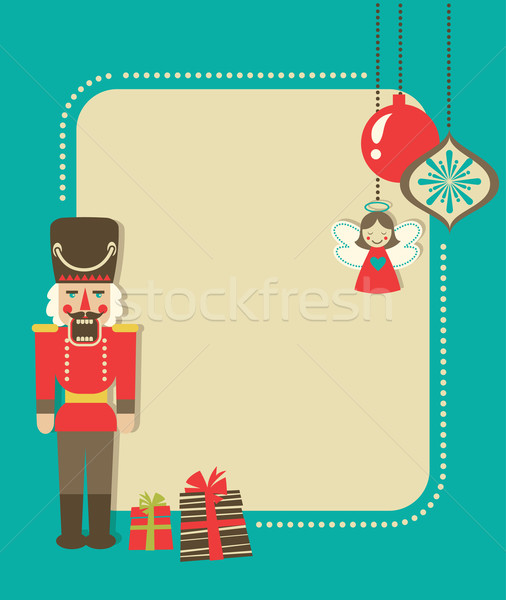 Christmas Vintage Greeting Card With Nutcracker And