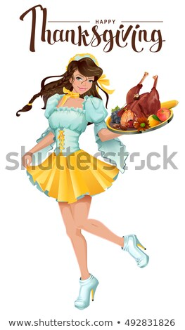 Happy Thanksgiving Day Cute Girl Waiter Brings A Tray Of Roast Turkey Vegetables And Fruit Vector Illustration C Alexey Grigorev Orensila 7664717 Stockfresh