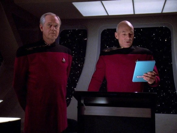 Captain Jean-Luc Picard transfers command of the USS Enterprise-D to Captain Edward Jellico