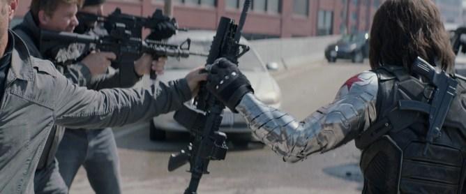 winter soldier, bucky barnes, metal arm, captain america, harness, big guns
