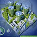 Vista aérea Torres Antismog.  Imágen cortesía de Vincent Callebaut Architecture