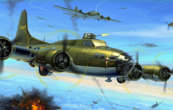 Wallpaper Boeing United States Air Force B 17 Flying